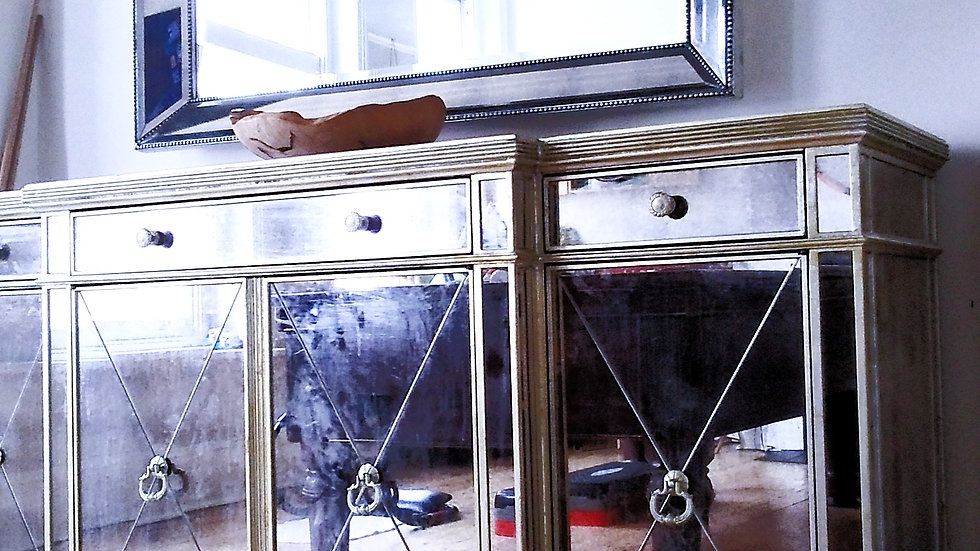 MIRRORED GLASS SIDEBOARD/CABINET