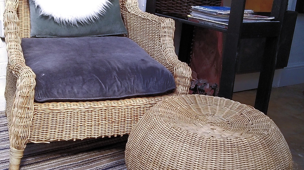 WING BACK ARMCHAIR NATURAL RATTAN (WICKER WEAVE) incl. CUSHIONS