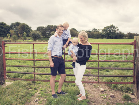 Rachel, Matt, Archie and Albie at the family farm