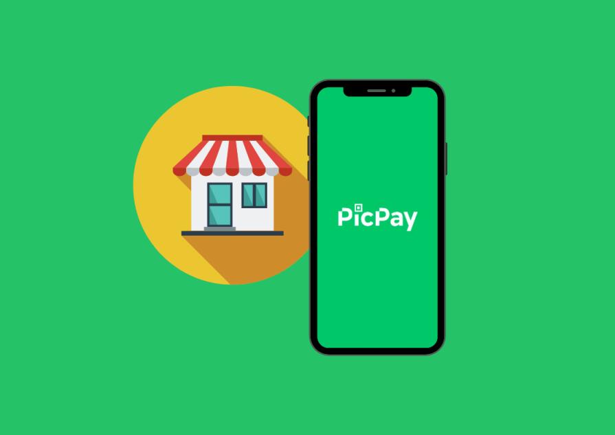 Aplicativo do Picpay aberto na tela de um celular. Ao fundo há um estabelecimento comercial.