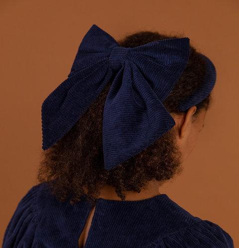 Corduroy Hair Bow Navy
