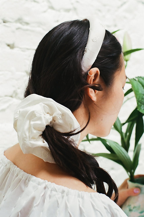 Silk Dupion Scrunchie Roses Embroidery