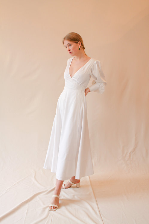 Luise Wrap Dress White