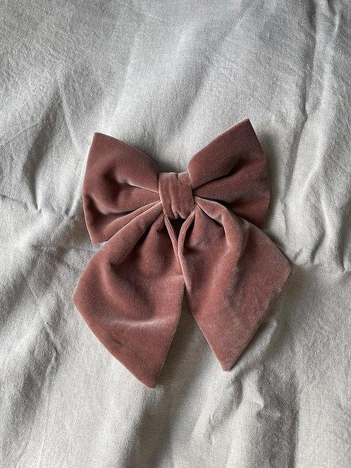 Velvet Hair Bow Rose