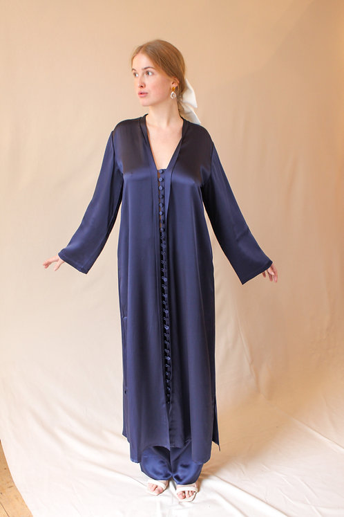 Mena Silk Kaftan Dress Blue