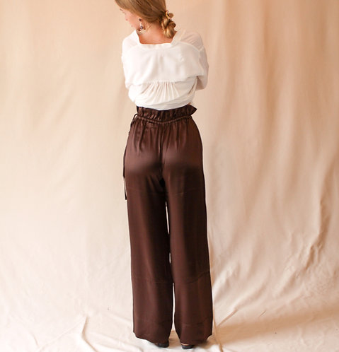 Charlotte Silk Trousers Bronze