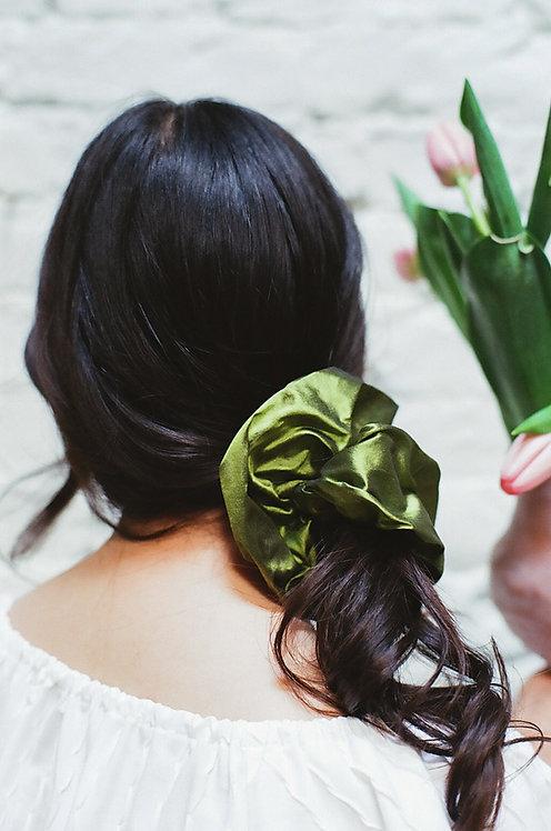 Silk Dupion Scrunchie Green