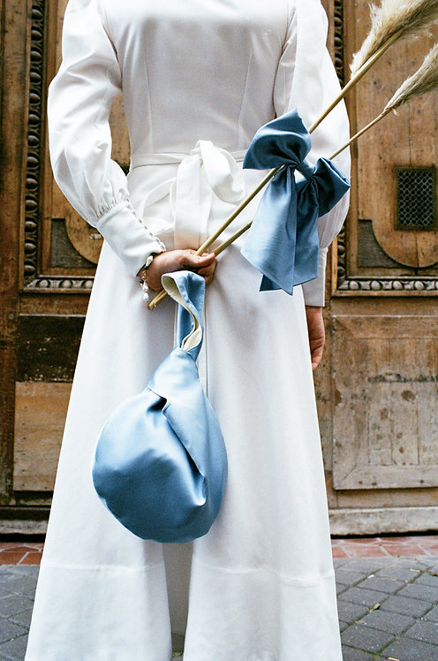 Reversible Alice Silk Bag Sky & Ivory