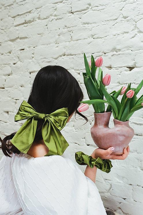 Silk Dupion Hair Bow Green