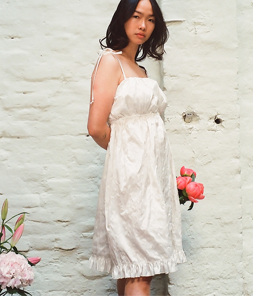 Alicia Silk Roses Embroidery Dress