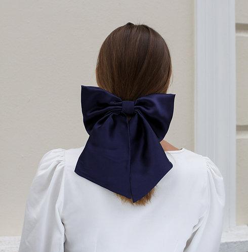 Silk Hair Bow Navy