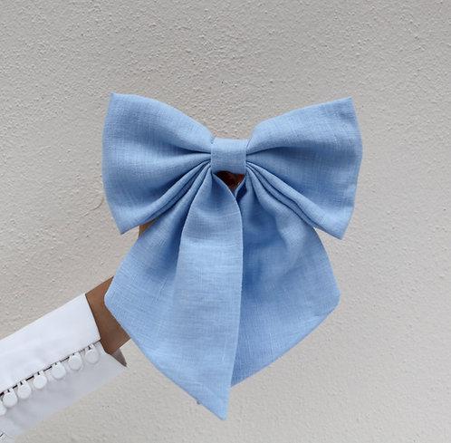 Linen Hair Bow Sky