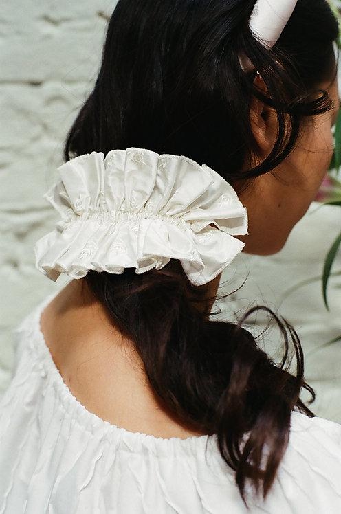 Silk Ruffle Hairclip Roses Embroidery