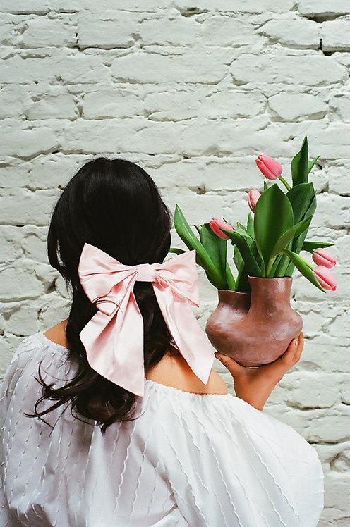 Silk Dupion Hair Bow Rose