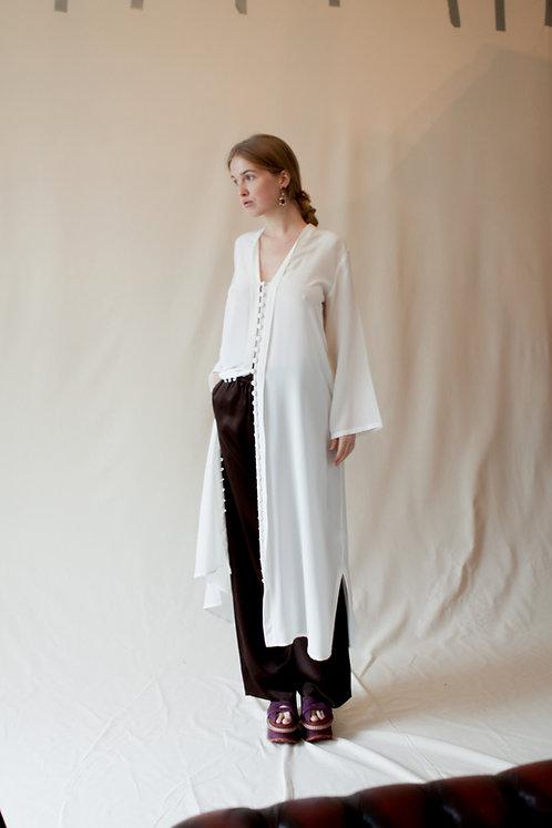 Mena Silk Kaftan Dress White