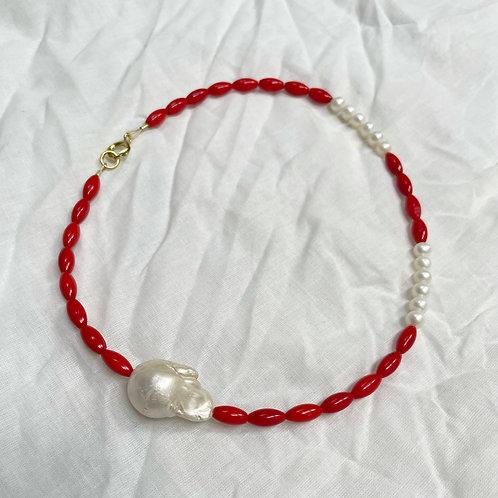 Vintage Coral & Pearl Necklace