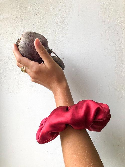 Raspberry Silk Scrunchie