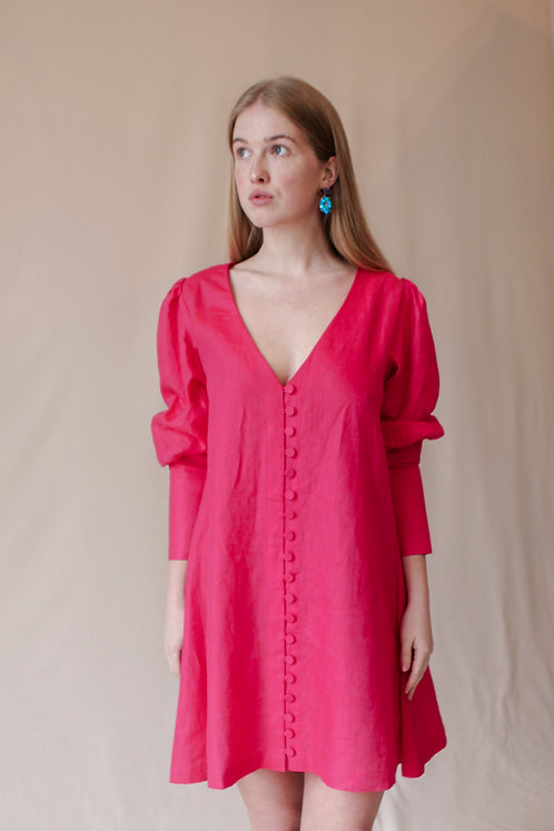 Mari Button Dress Fuchsia Linen