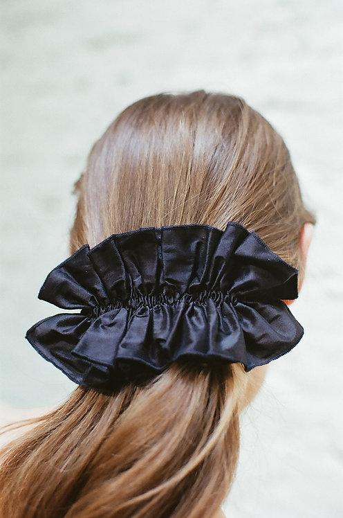 Silk Ruffle Hairclip Black