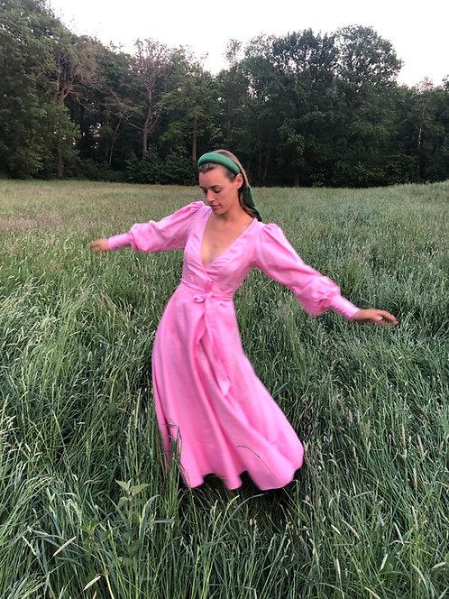 Luise Wrap Dress Pink Linen