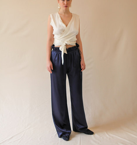 Charlotte Silk Trousers Blue