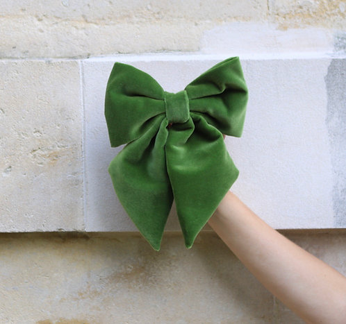 Velvet Hair Bow Green