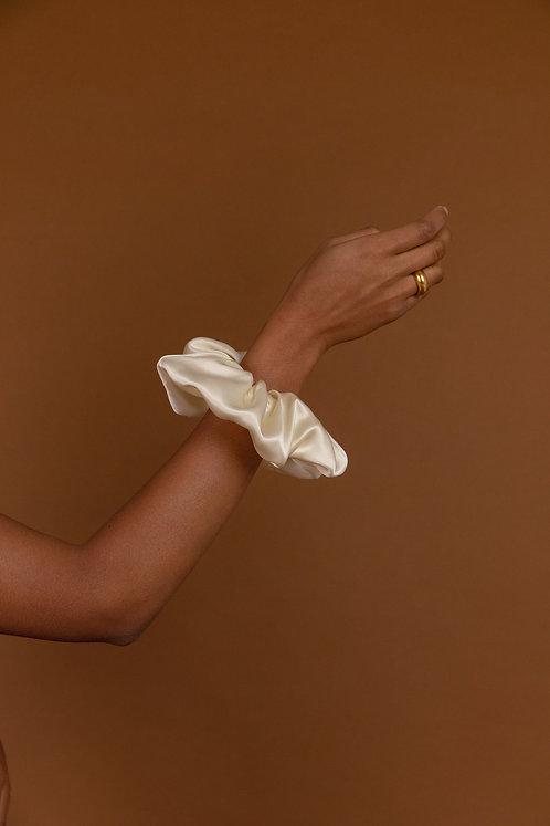 Ivory Silk Scrunchie