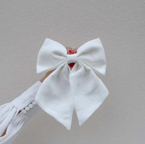 Linen Hair Bow Ivory