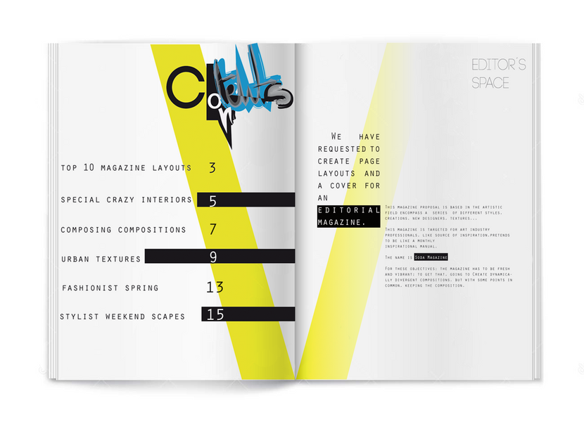 Contents page and Editor's space