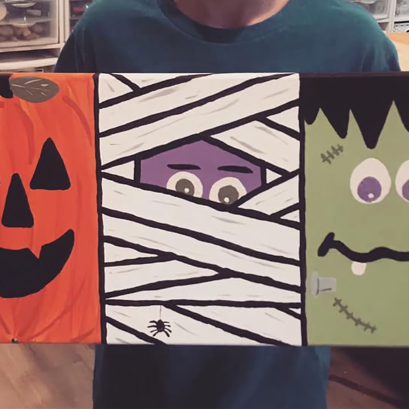 Halloween Trio Canvas Painting