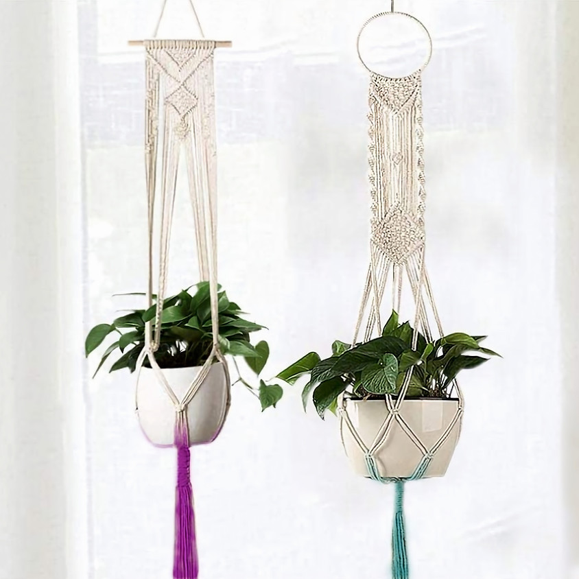 Dip-dyed Macrame Plant Hanger and Pot on the Wheel