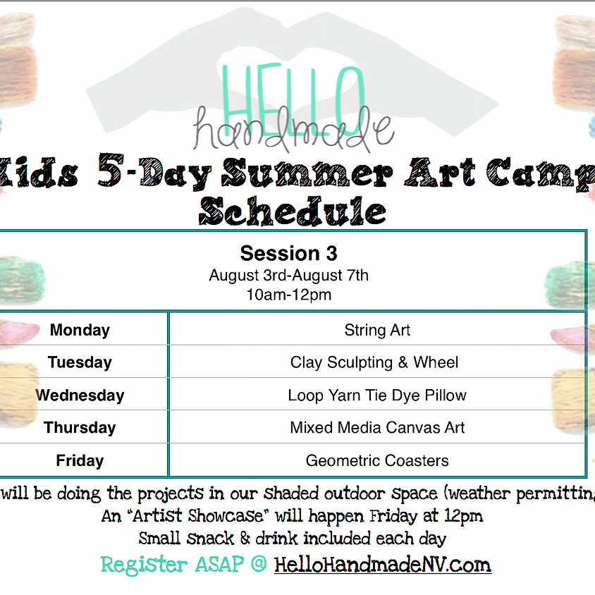 Session 3 - 5 Day Summer Art Camp