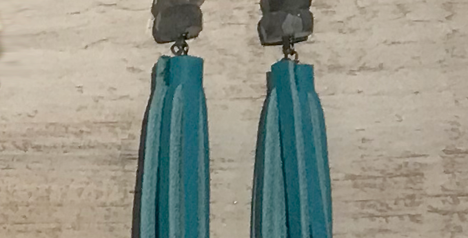 Leather Tassel Earrings w labradorite stone