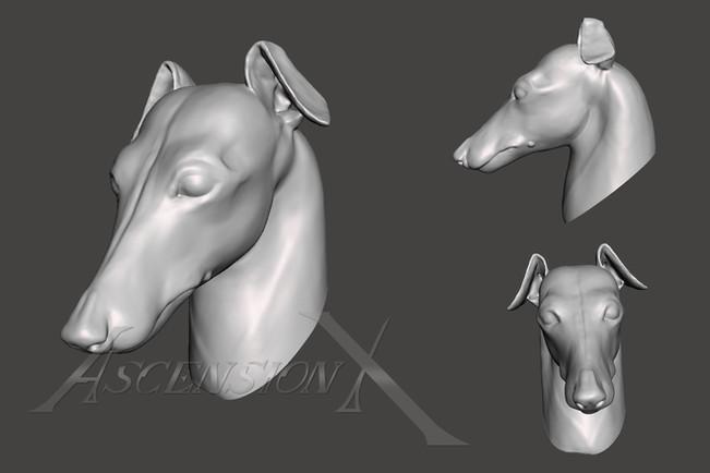 Scan 3D. Sculpture. Chien. Lévrier italien.