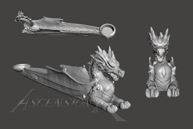 Scan 3D. Dragon. Encensoir. Fichier STL et OBJ.