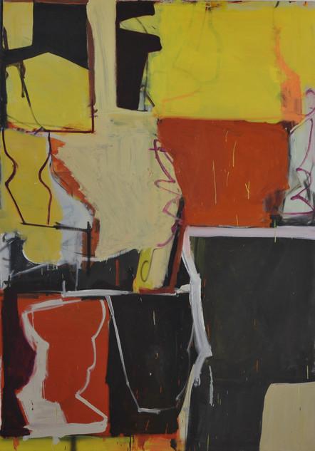 huile et pastels gras sur toile 114 x 162 cm 2019