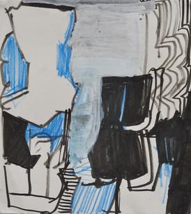 Feutre acrylique et crayon de couleur sur papier 14,5 x  16 cm  2019