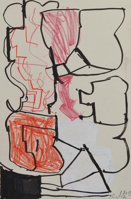 feutre et crayons de couleur sur papier 15 x 21 cm janvier 2019