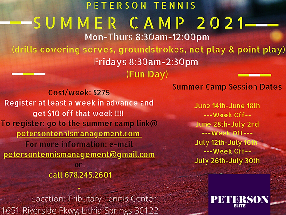 Peterson Tennis Summer Camp 2021 @ Trib