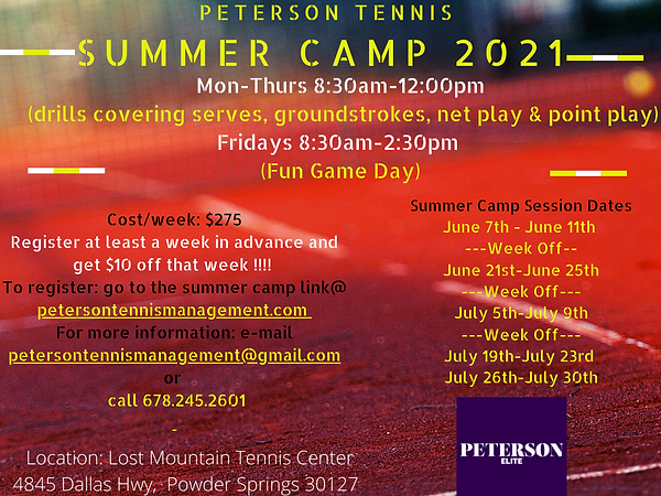 Peterson Tennis Summer Camp 2021 @ Lost