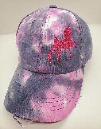 Tie Dye Criss Cross Pony Tail Hat