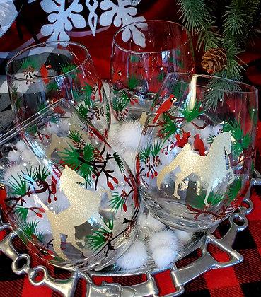 Winter Trees Stemless Wine Glass - set of 4