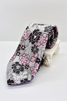 Silver Floral Tie