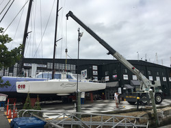Boat haul with crane