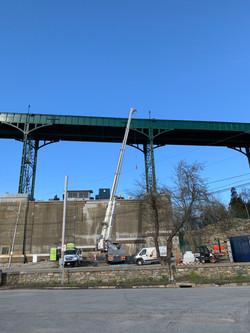Crane working on bridge