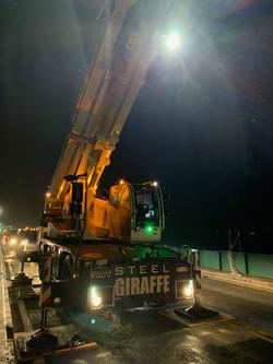 Crane working at night