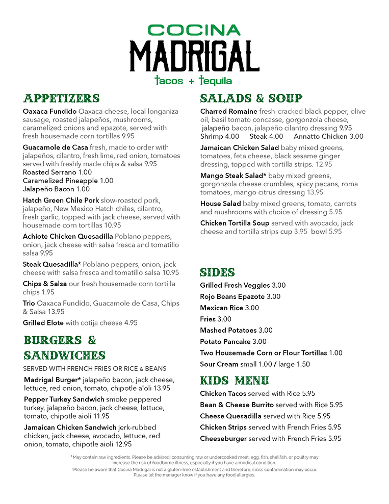 Cocina Madrigal Menu Dinner 5 13 2021.pn