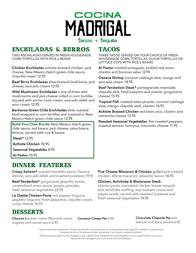 Cocina Madrigal Menu Dinner 2-4-21 ver 7