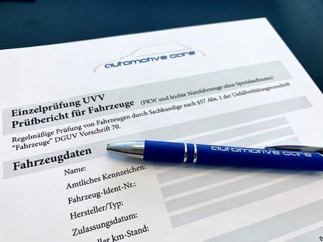 UVV Prüfung von Firmenwagen