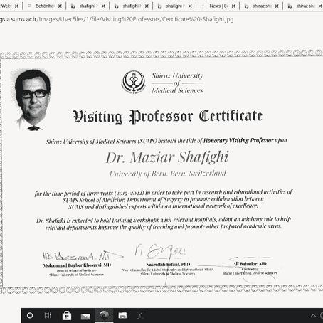 Januar 2019:  Dozent Dr. Shafighi fängt Kollaboration mit der Universität in Shiraz an
